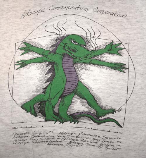 Foto de minha velha camiseta, o Mozilla da Netscape de 1995/96.