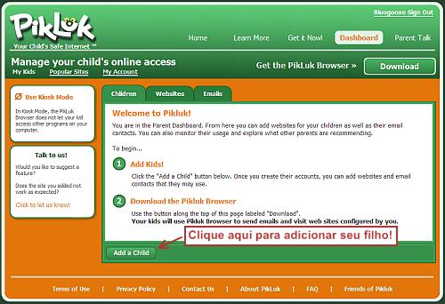 Tela de boas vindas ao Pikluk.