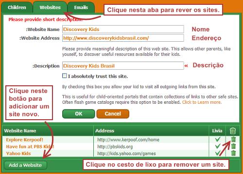 Cadastrando sites no Pikluk.