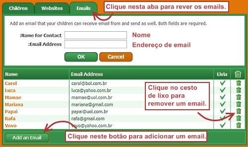 Como cadastrar emails com os quais seu filho pode se comunicar no Pikluk.