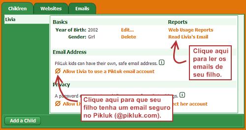 Dando acesso de email para seu filho no Pikluk.