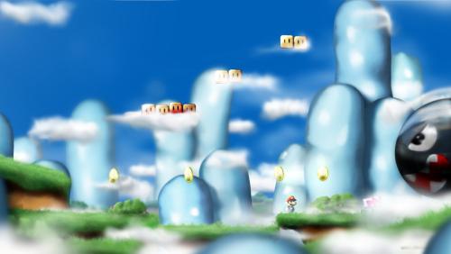 Cena inspirada no videogame Super Mario Bros