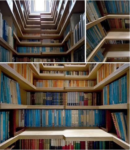 Uma biblioteca dentro da escada.