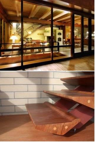 Uma escada moderna com degrau diferente.
