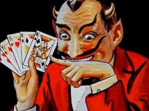 Diabo com as cartas na mão.